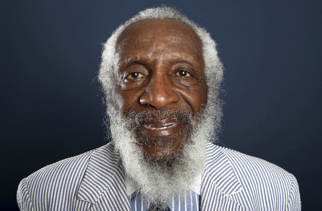 In this July 21, 2012 file photo, comedian and activist Dick Gregory poses for a portrait during the PBS TCA Press Tour in Beverly Hills, Calif. Gregory, the comedian and activist and who broke racial barriers in the 1960s and used his humor to spread messages of social justice and nutritional health, has died. (Photo by Matt Sayles/Invision/AP, File)