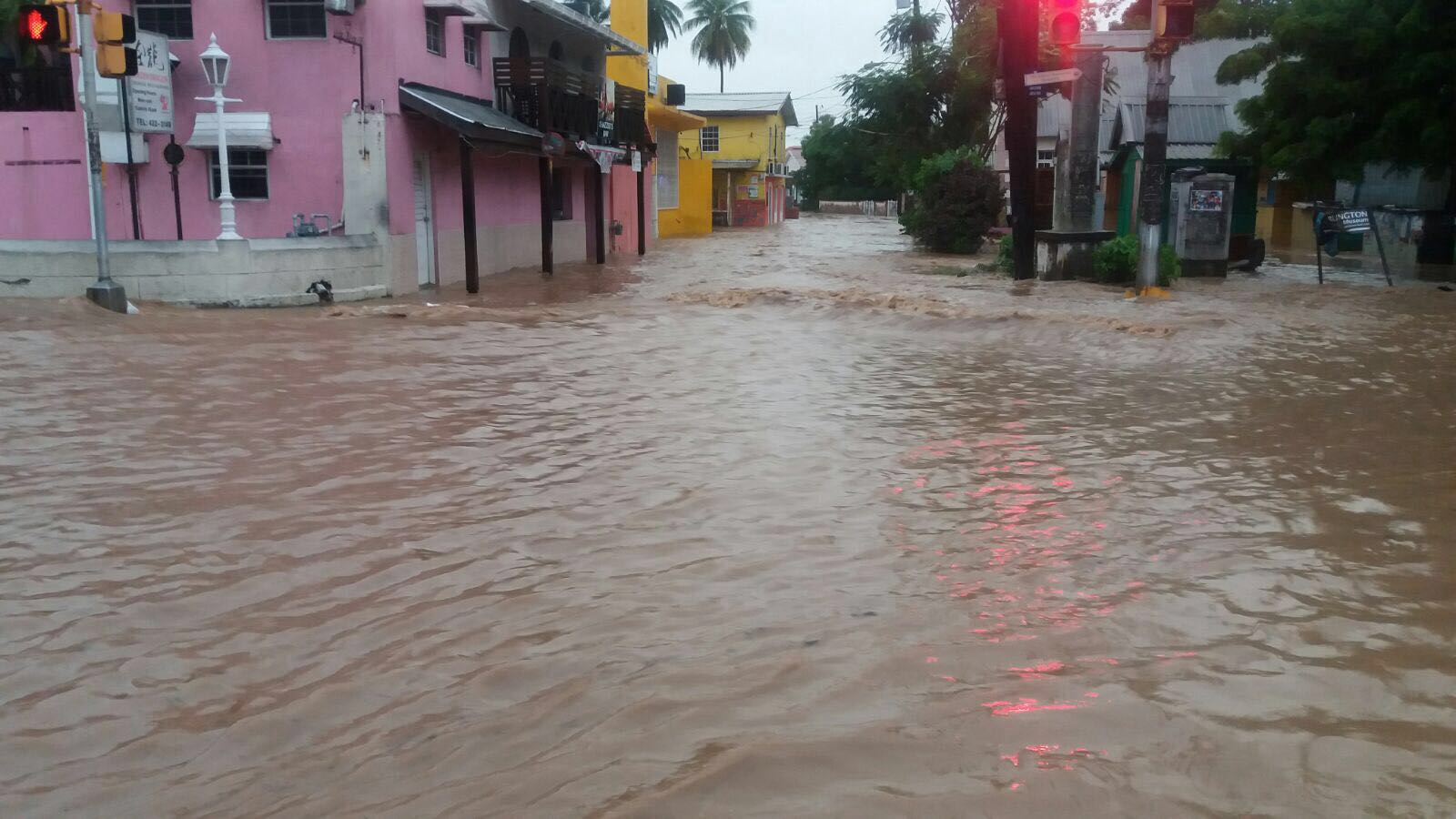 Flooding in Barbados caused by heavy rains associated with Tropical Storm Harvey.