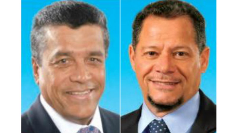 Outgoing Managing Director and CEO of Republic Bank (Barbados) Ltd., Ian De Souza (left) and his successor, Anthony Clerk.