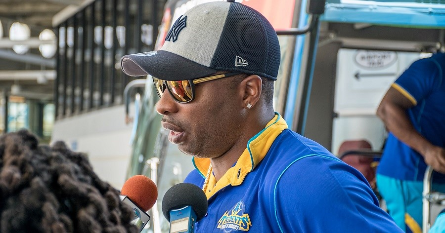 Barbados Tridents captain, Kieron Pollard, talks to reporters on the team's arrival at the Grantley Adams International Airport.