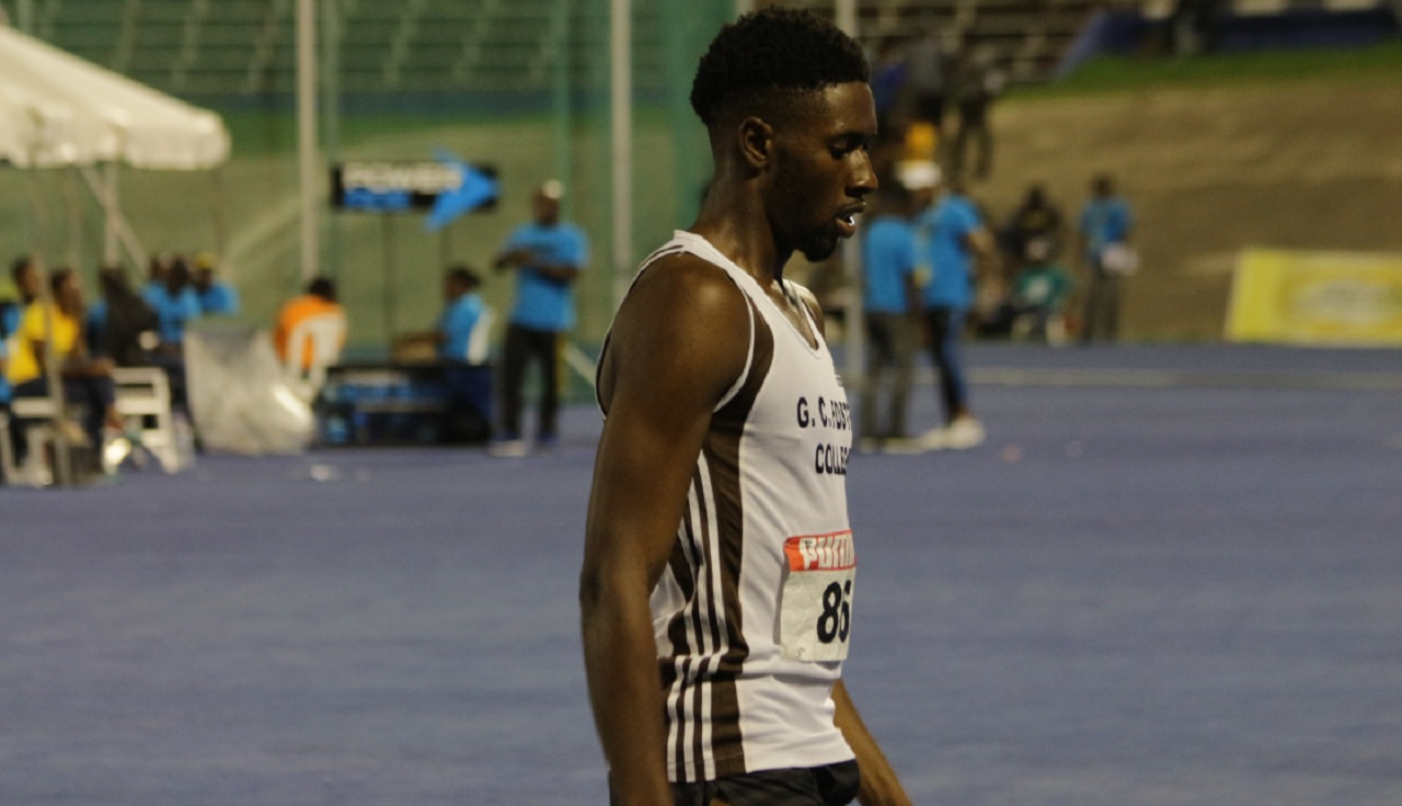 Demish Gaye makes his way off the track following his victory in heat three of the men's 400-metre semi-finals.