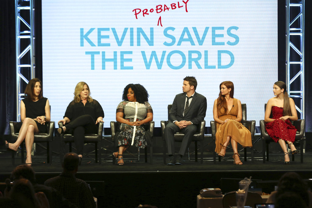 "Michele Fazekas, from left, Tara Butters, Kimberly Hebert Gregory, Jason Ritter, Joanna Garcia Swisher and Chloe East participate in the ""Kevin (Probably) Saves The World"" panel during the Disney ABC Television Critics Association Summer Press Tour at the Beverly Hilton on Sunday, Aug. 6, 2017, in Beverly Hills, Calif. (Photo by Willy Sanjuan/Invision/AP)"
