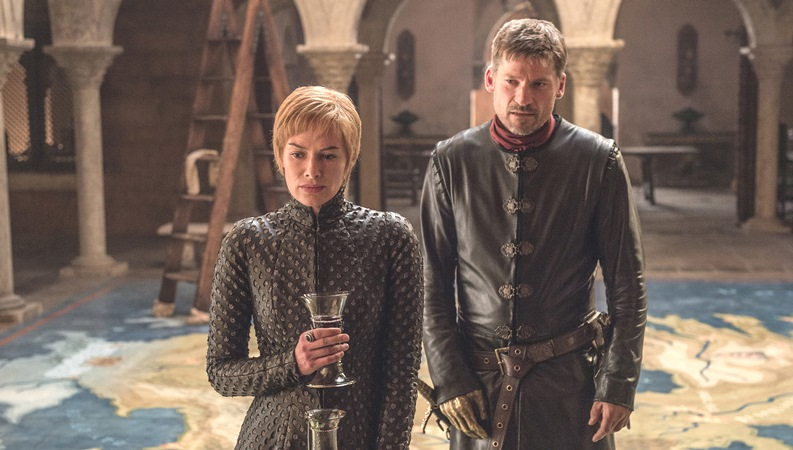 "This image released by HBO shows Lena Headey, left, and Nikolaj Coster-Waldau in ""Game of Thrones,"" which premiered its seventh season on Sunday, July 16."