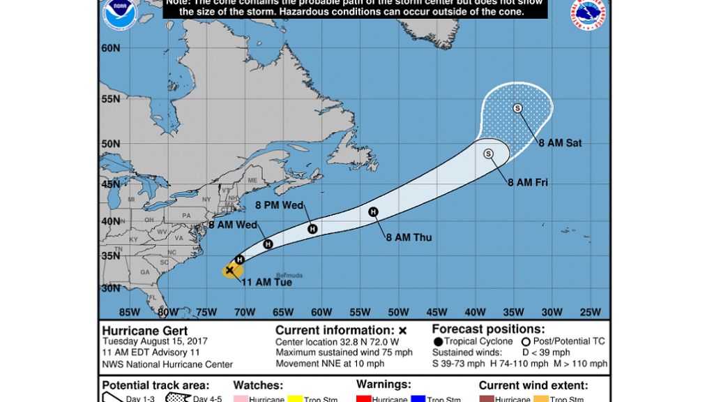 Hurricane forecasters tracking 3 disturbances in Atlantic, plus Hurricane Gert