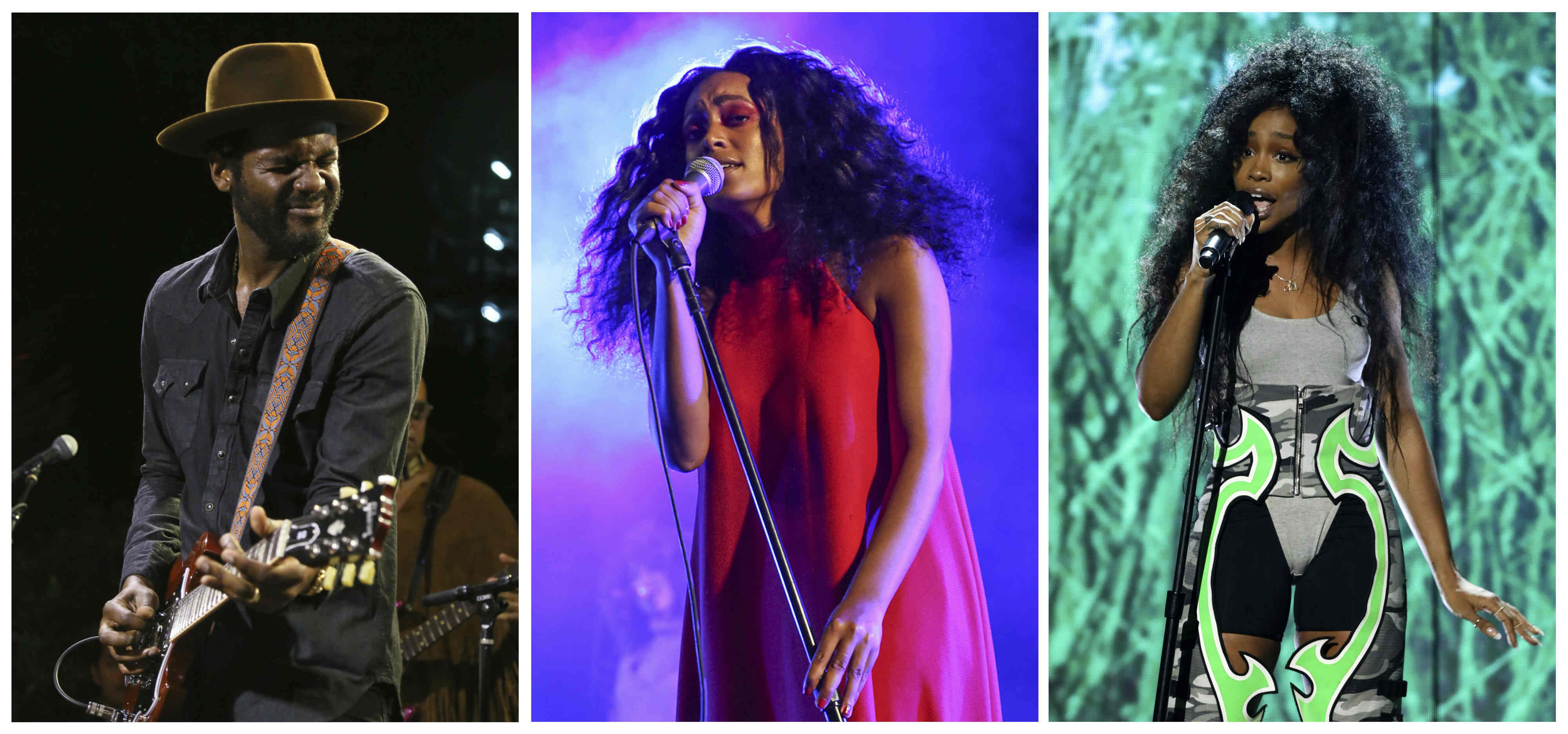 This combination photo shows performers, from left, Gary Clark, Jr. , Solange Knowles, and SZA.