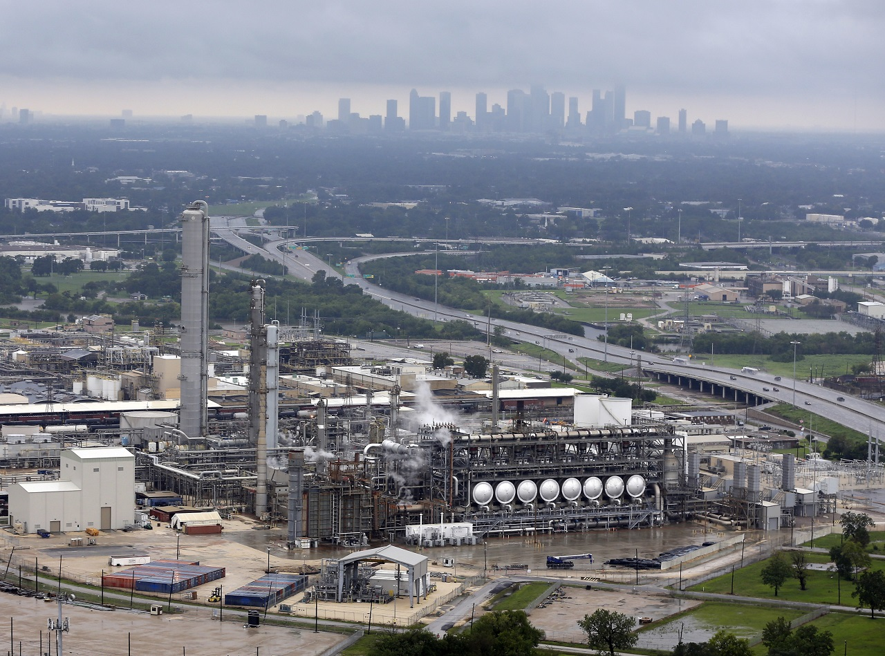 This aerial photo shows the Flint Hills Resources oil refinery near downtown Houston on Tuesday, Aug. 29, 2017.