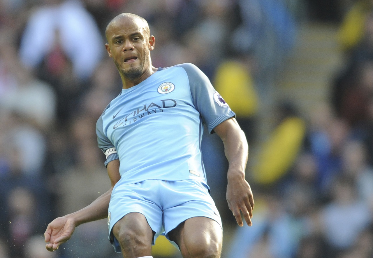 A Sunday, Oct. 23, 2016, file photo of Manchester City's Vincent Kompany during the English Premier League match against Southampton at the Etihad Stadium in Manchester, England.