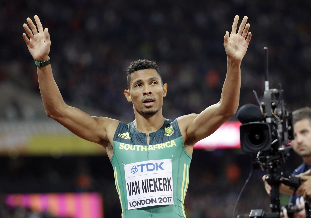 outh Africa's Wayde Van Niekerk celebrates winning the gold medal in the Men's 400m final during the World Athletics Championships in London Tuesday, Aug. 8, 2017.
