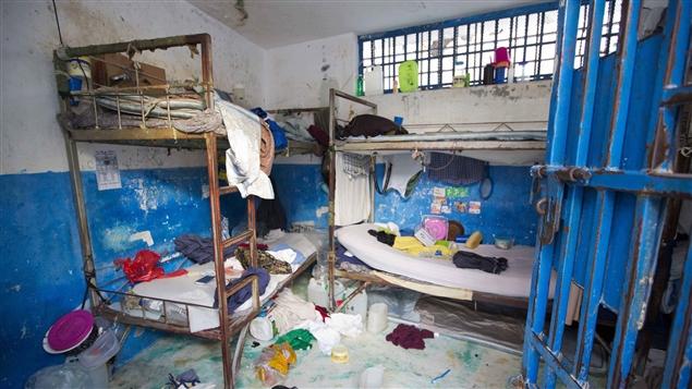 Cette photo a été prise lors de l'évasion à la prison d'Arcahaie en Haïti. Crédit photo: Radio Canada