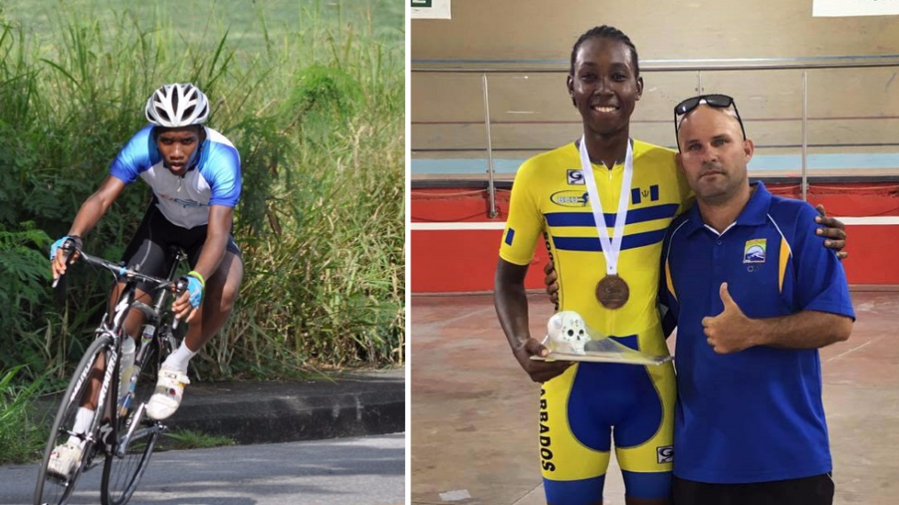 Photo L-R: Bajan cyclists Jamol Eastmond and Edwin Sutherland were injured after a collision with a maxi-taxi in Trinidad on Monday, August 21, 2017.