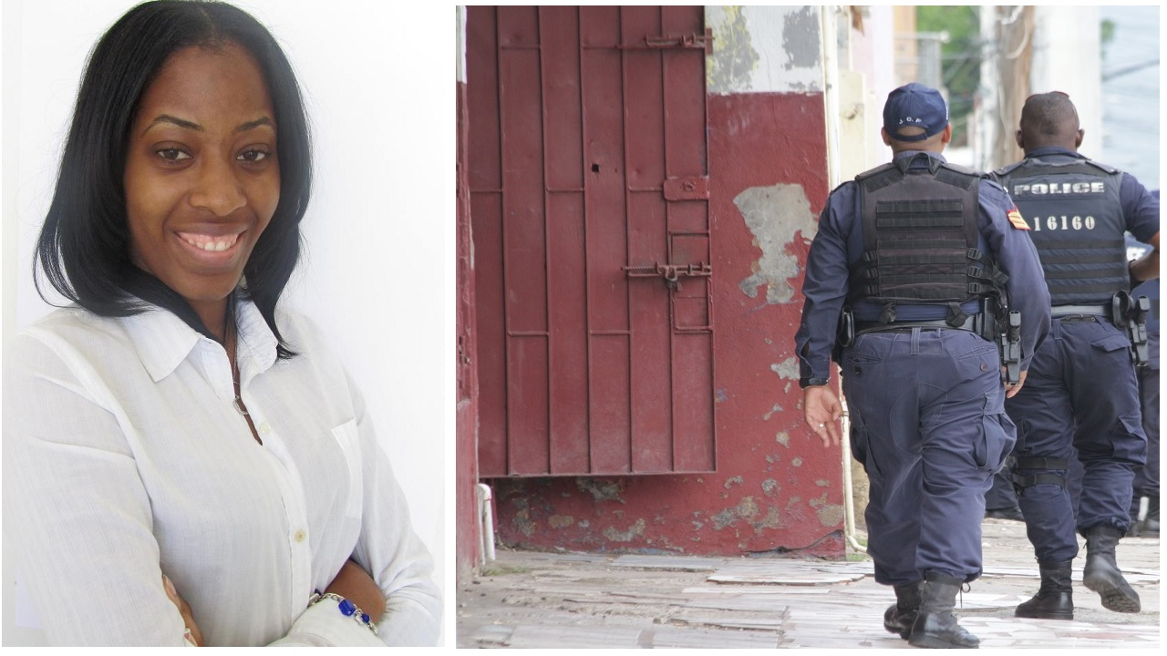 Sasha-Gay Lewis (left). At right is a file photo of police during an operation in West Kingston.