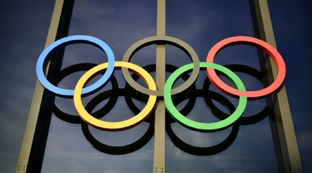 The Olympic rings at IOC headquarters.