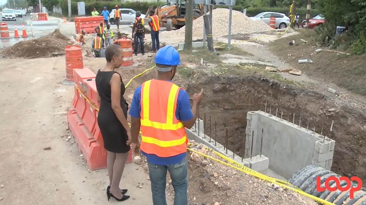 Member of Parliament for Eastern St Andrew, Fayval Williams inspects the work being done on Mona Road.
