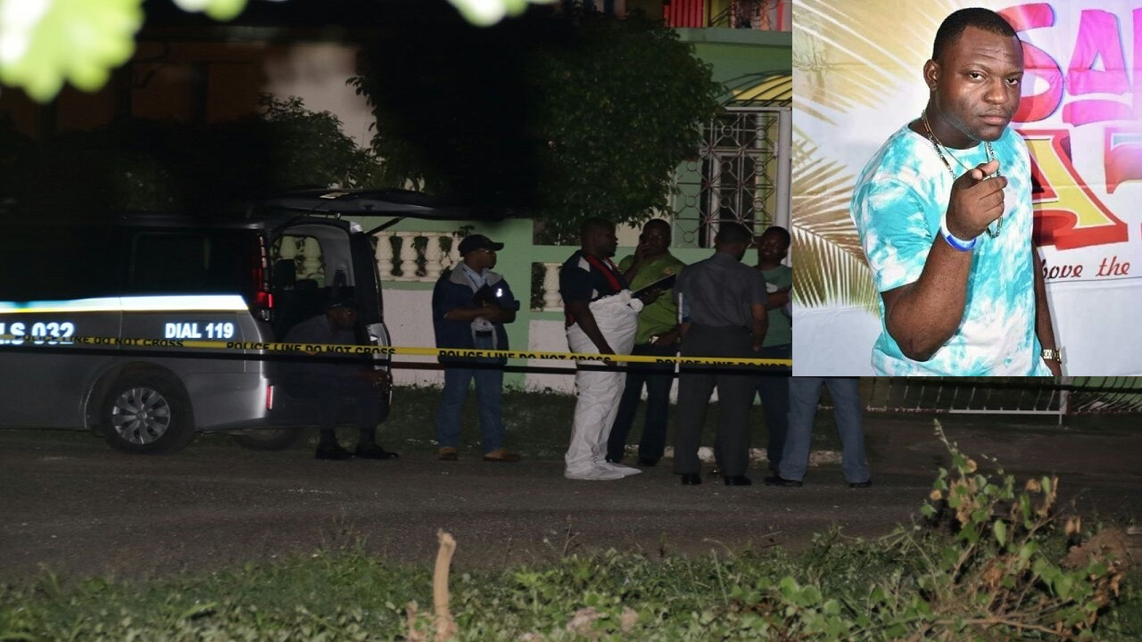 Police at the crime scene where Constable Nicaldo Green was shot dead. (Inset: Nicaldo Green)