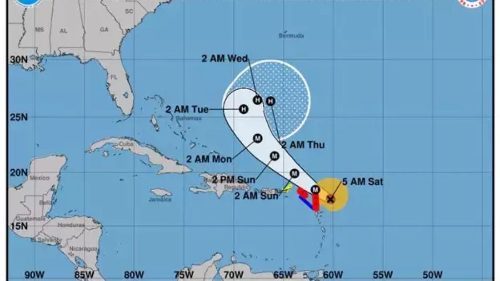 Hurricane Jose's potential track area as of 5AM, Saturday 9 September (NWS Hurricane Watch Centre)