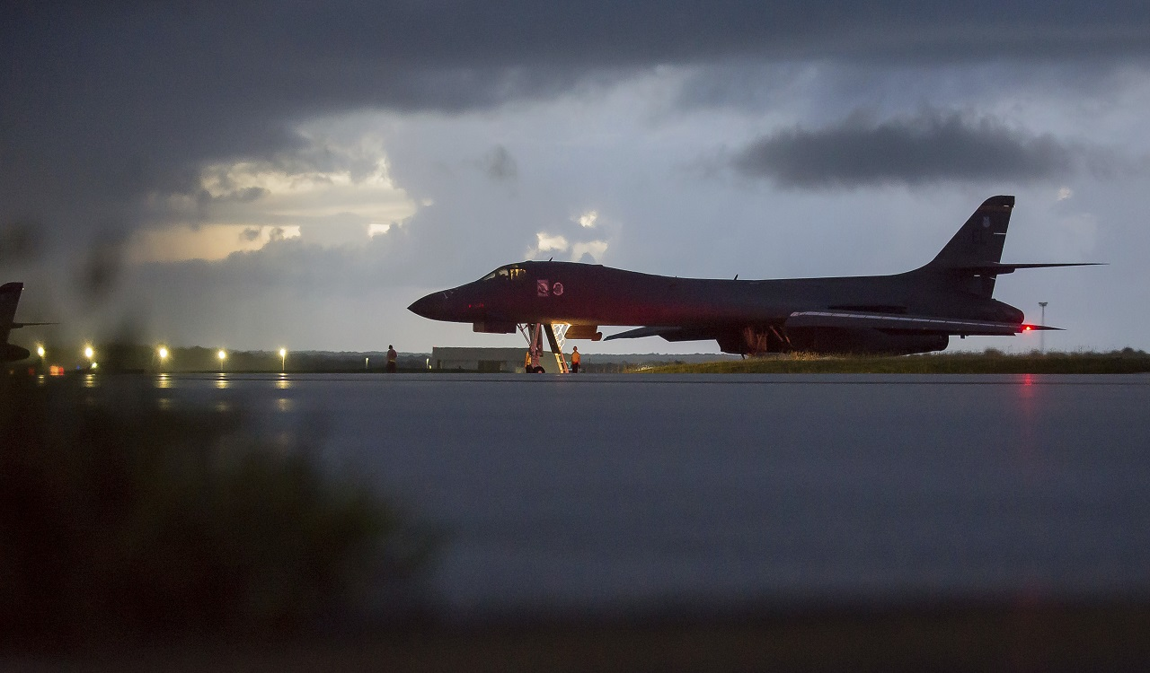 In this image provided by the U.S. Air Force, a U.S. Air Force B-1B Lancer, assigned to the 37th Expeditionary Bomb Squadron, deployed from Ellsworth Air Force Base, S.D., prepares to take off from Andersen AFB, Guam, on Saturday, Sept. 23, 2017.