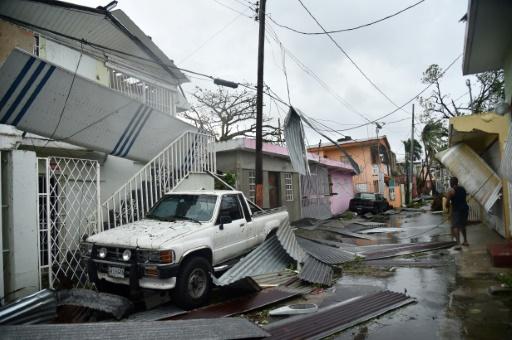 Une rue dévastée par l'ouragan Maria à San Juanle 20 septembre 2017, à Porto Rico