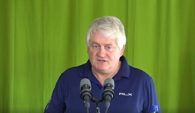 Digicel Chairman, Denis O'Brien speaking at a press briefing in Dominica on Wednesday.