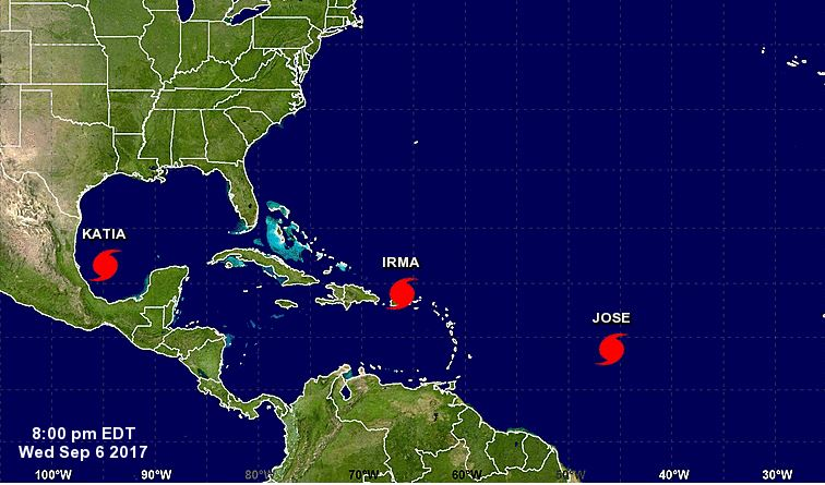 Hurricanes Irma, Jose and Katia have formed in the Atlantic.