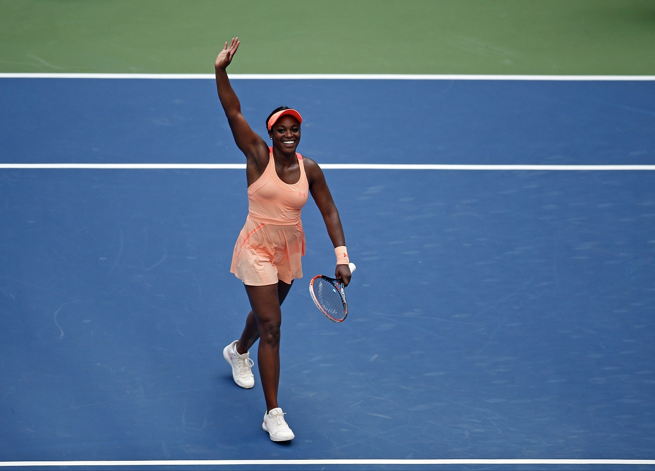 Sloane Stephens, of the United States, reacts after beating Anastasija Sevastova, of Latvia, during the quarterfinals of the U.S. Open tennis tournament, Tuesday, Sept. 5, 2017, in New York.
