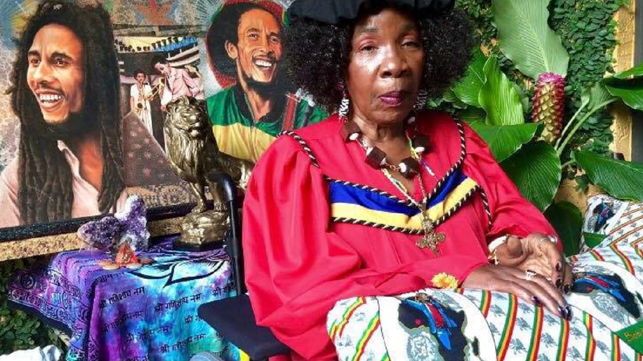 Dr Rita Marley in graduation regalia as she was presented with an honorary doctorate by the University of Fort Hare.