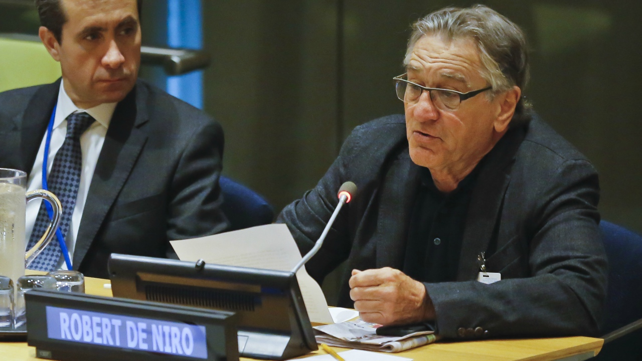 US actor Robert De Niro, right, address a high-level meeting on Hurricane Irma at the United Nations headquarters, Monday, Sept. 18, 2017. (AP Photo/Bebeto Matthews)