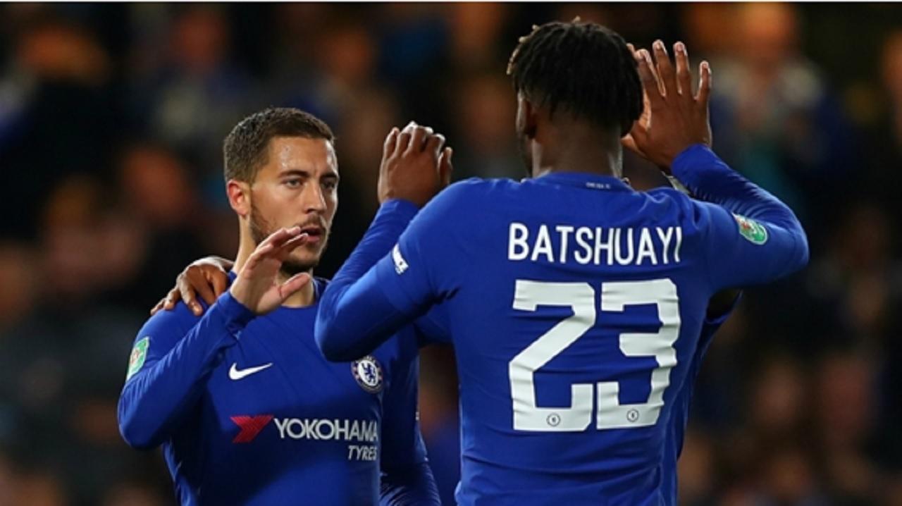 Eden Hazard and Michy Batshuayi celebrate a goal for Chelsea.