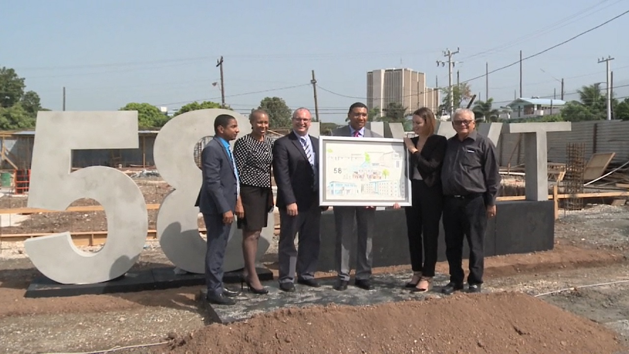 Prime Minister Andrew Holness (third right) with (from left) Kingston Mayor Delroy Williams; State Minister in the Ministry of Finance, Fayval Williams; Musson Group chairman Paul Scott; Chairman of Stanley Motta Ltd, Melanie Subratie and Industry Minister Karl Samuda at the groundbreaking ceremony.