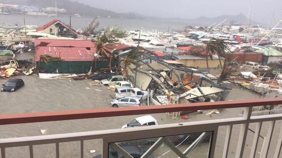 Destruction caused by Hurricane Irma in St Martin.