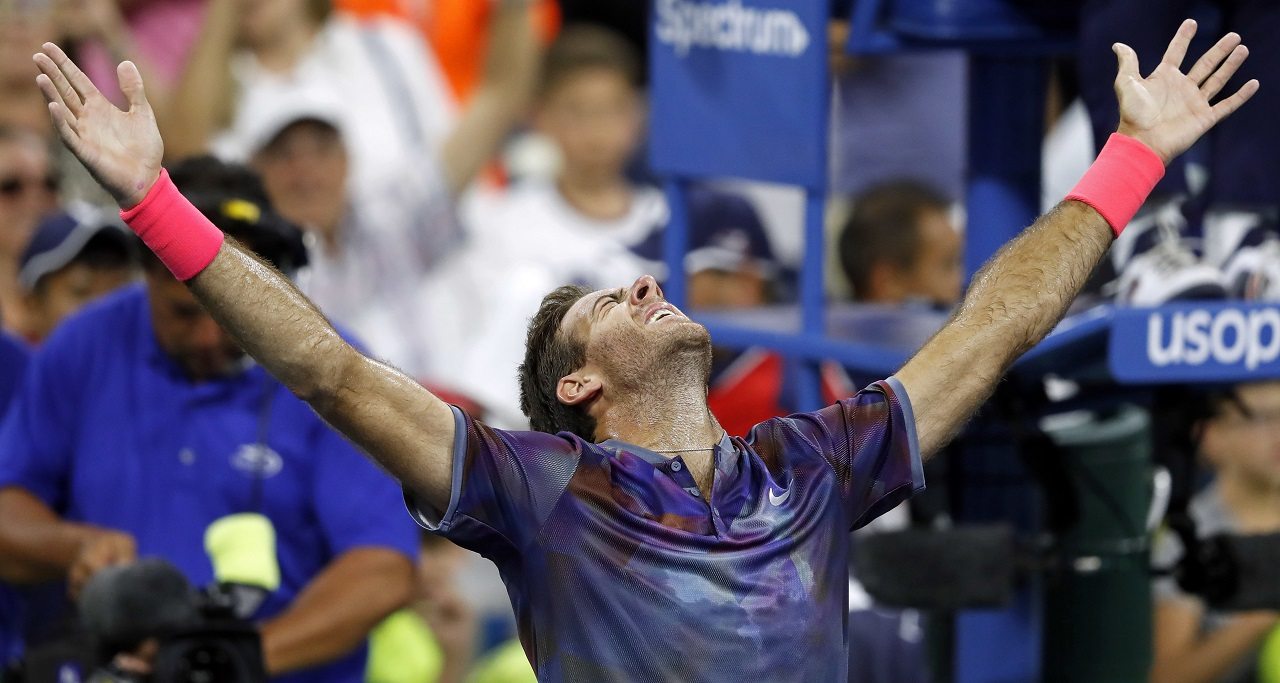 Juan Martin del Potro, of Argentina, celebrates after defeating Dominic Thiem, of Austria, during the fourth round of the U.S. Open tennis tournament, Monday, Sept. 4, 2017, in New York.