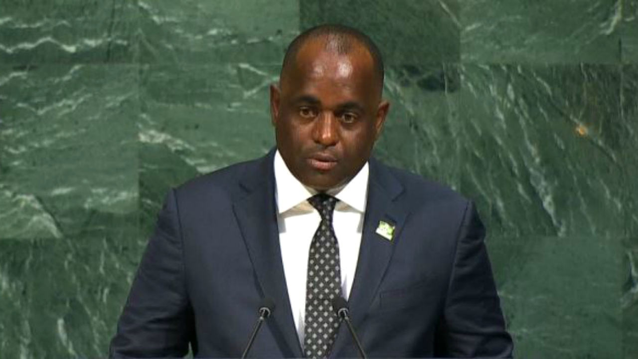 Dominica's Prime Minister Roosevelt Skerrit addressing the United Nations General Assembly on Saturday morning.