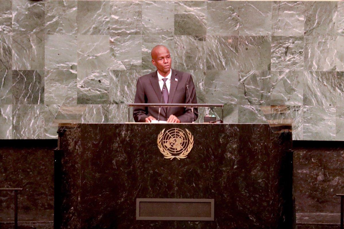 Le président d'Haïti, Jovenel Moise, à la tribune des Nations-Unies, le jeudi 21 septembre, à l'occasion de la 72ème Assemblée Générale de l'ONU. Credit photo: Twitter Jovenel Moise