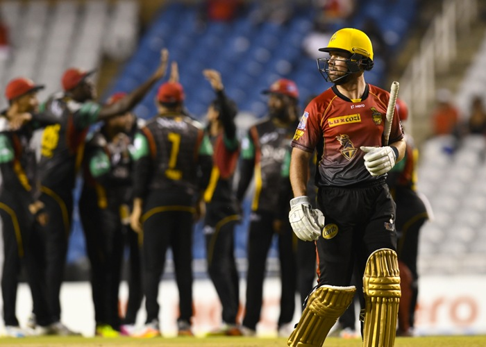 St Kitts & Nevis Patriots 149-7 (Gayle 54*, King 30, Bravo 4-38) beat Trinbago Knight Riders 111 (Bravo 29, Cottrell 3-17, Hafeez 1-11) by 38 runs
