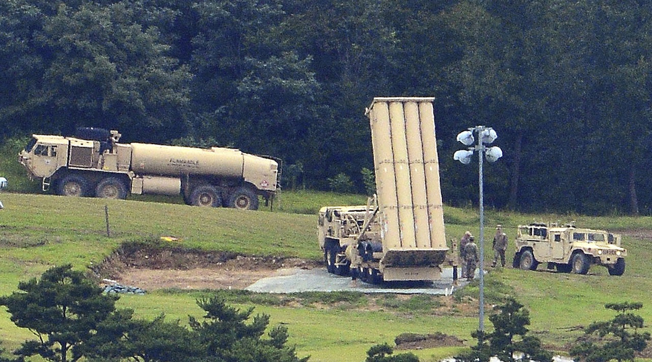 U.S. missile defense system called Terminal High Altitude Area Defense, or THAAD, is seen at a golf course in Seongju, South Korea, Wednesday, Sept. 6, 2017. Seoul's Defense Ministry on Wednesday said the U.S. military will begin adding more launchers to a contentious high-tech U.S. missile defense system in South Korea on Thursday to better cope with North Korean threats.