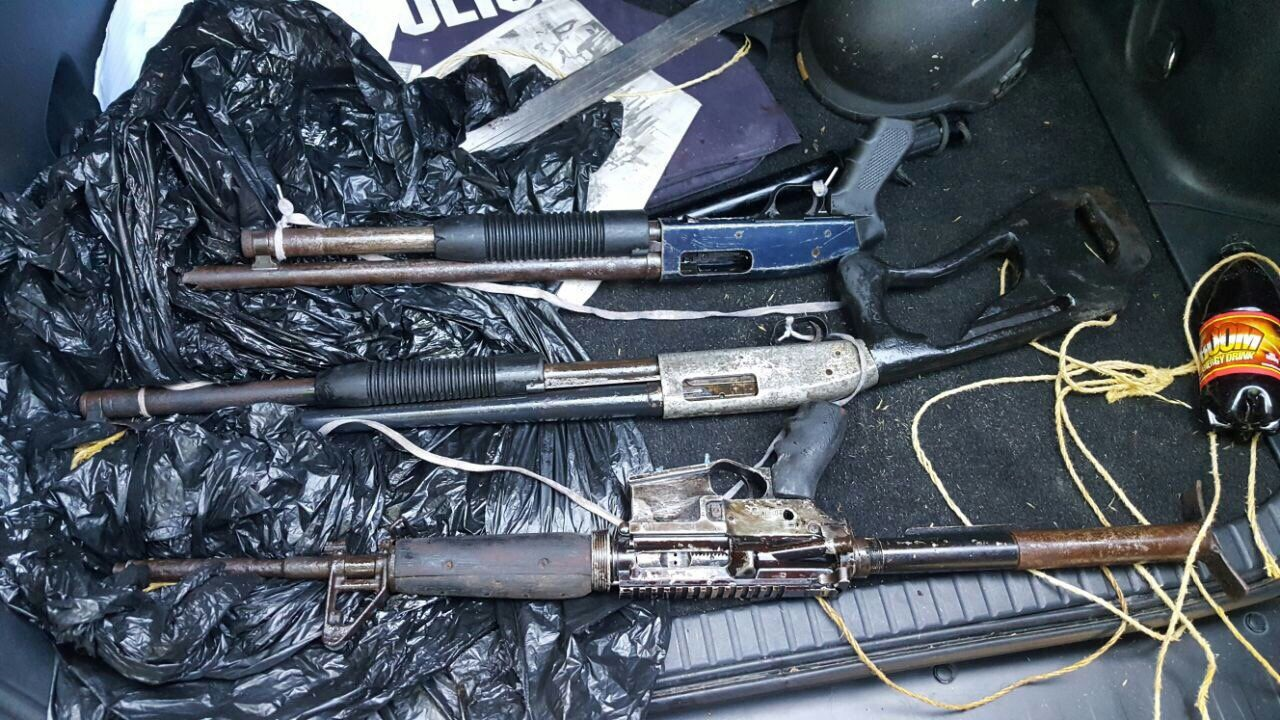 A photo of the guns that were recovered. (PHOTO: JCF)
