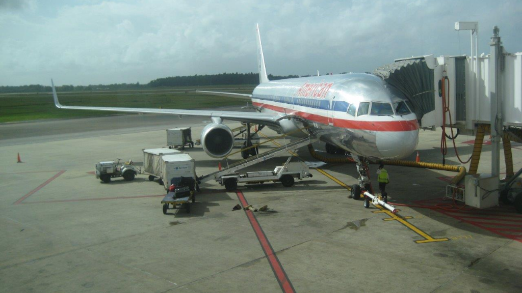 (Photo: In this undated photo, an American Airlines plane undergoes routine maintenance at Piarco.)