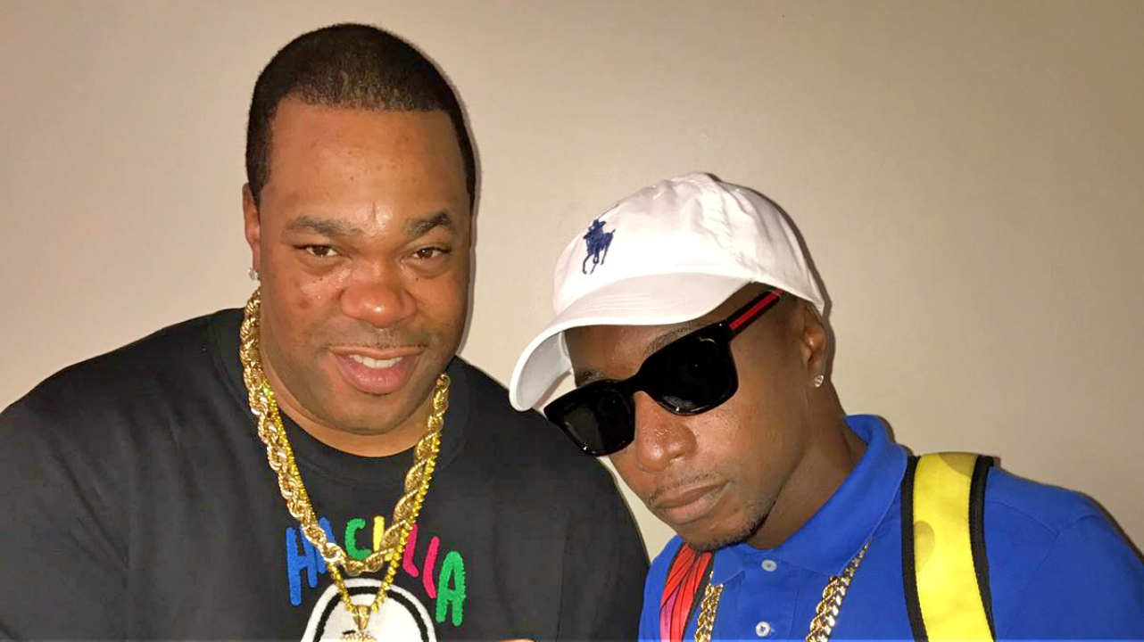 (R-L) Barbadian artiste Marzville with US rapper Busta Rhymes in New York City.