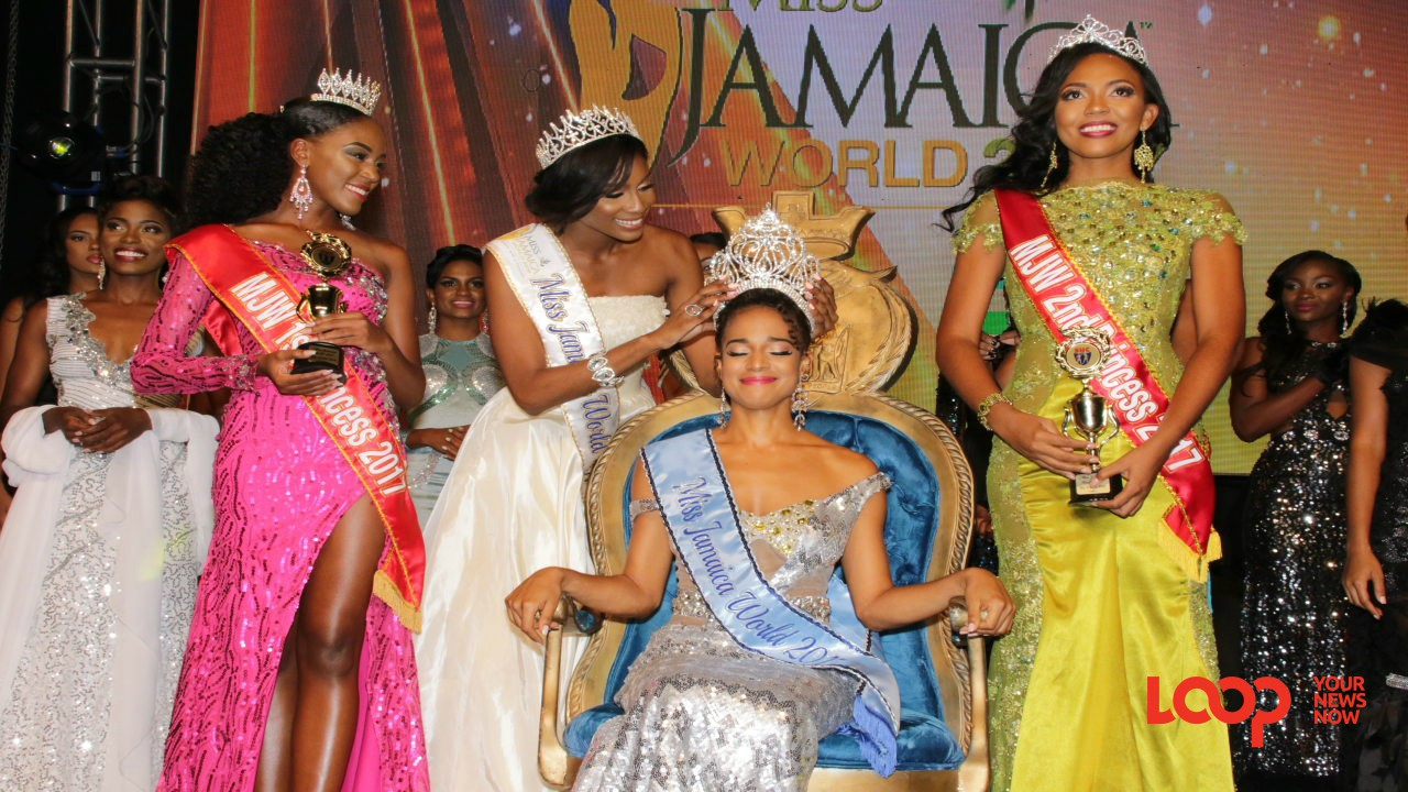 Solange Sinclair being crowned Miss Jamaica World 2017. Diedre McKenzie was second while Jeneque Pinnock placed third. (Photos: Llewellyn Wynter)