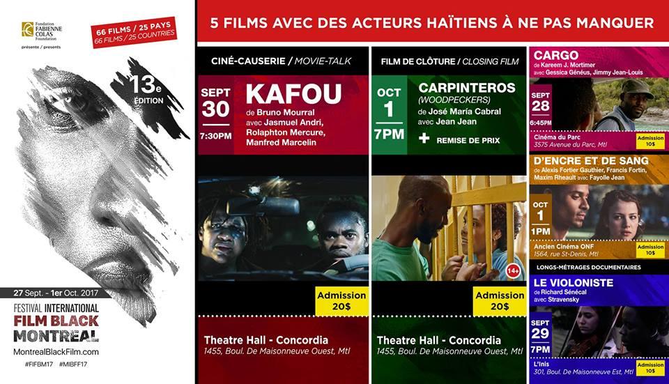 Les 5 films, avec des acteurs haitiens à l'affiche au Montreal International Black Film Festival.