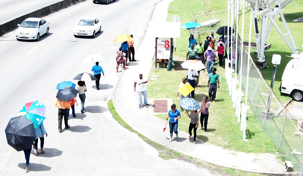 Employees of CBC held a protest outside of the compound.