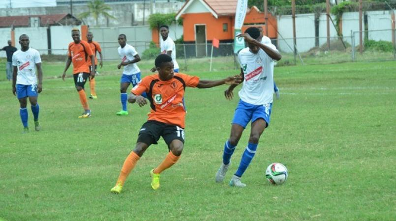 Action from a Red Stripe Premier League game between Portmore United and Tivoli Gardens.