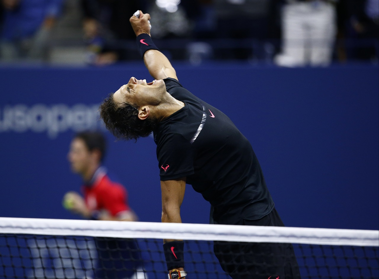 Rafael Nadal, of Spain, reacts after beating Juan Martin del Potro, of Argentina, during the semifinals of the U.S. Open tennis tournament, Friday, Sept. 8, 2017, in New York