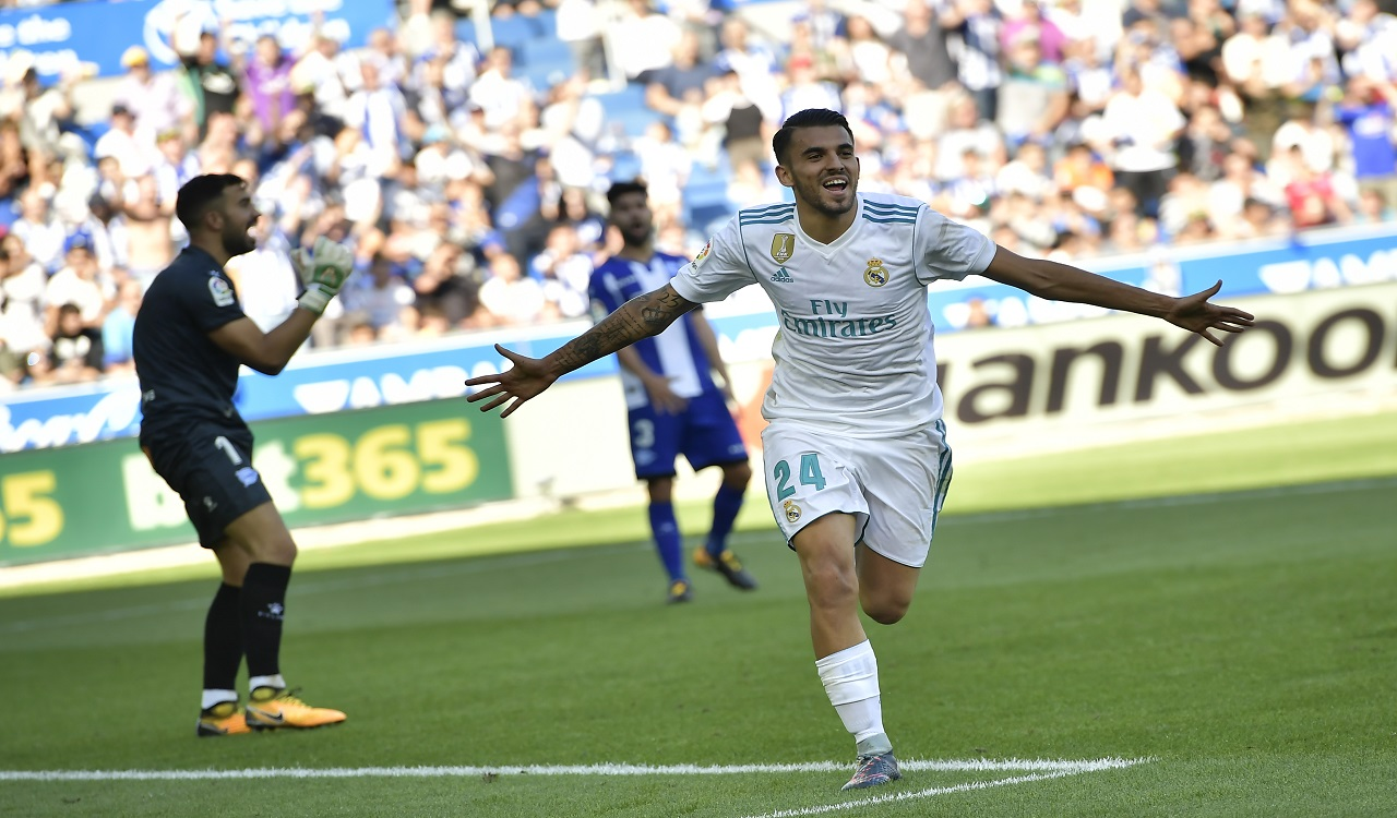 Real Madrid's Dani Ceballos celebrates his second goal after scoring against Alaves during the Spanish La Liga football match, at Mendizorra stadium, in Vitoria, northern Spain, Saturday, Sept.23, 2017.