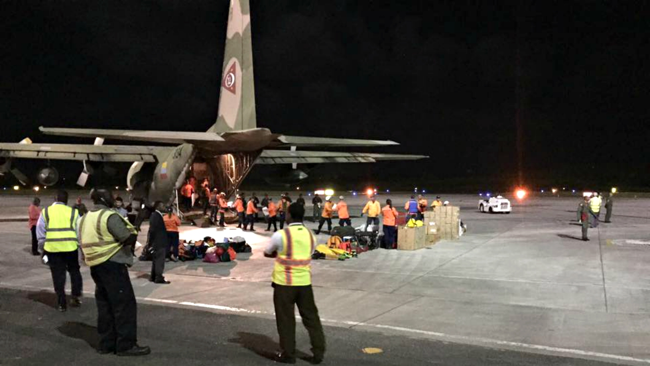 A military cargo plane arrives at VC Bird International Airport in Antigua from Venezuela on Thursday night. (PHOTO: ABS Television/Radio)