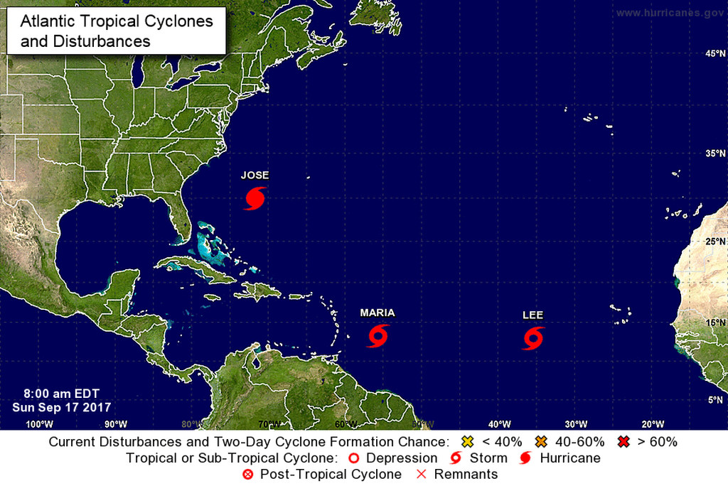 Maria now a hurricane following Irma's path