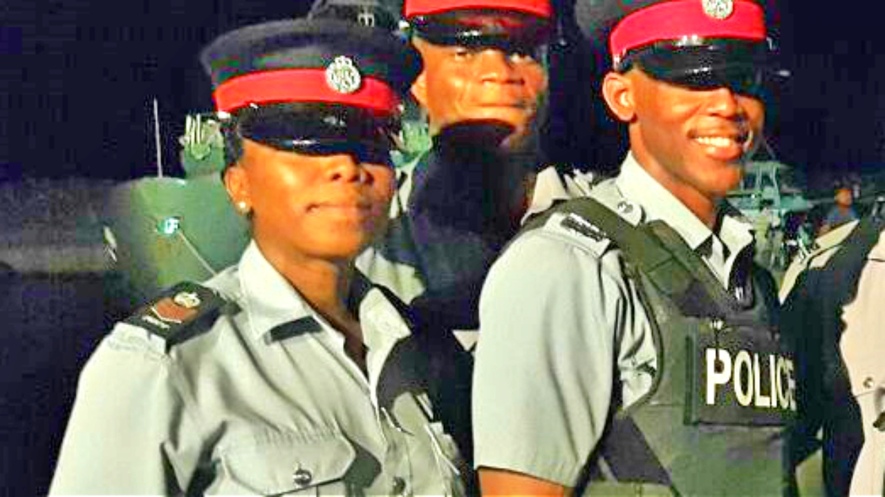 Some of the officers from the  Royal Barbados Police Force who are assisting with security in Dominica.