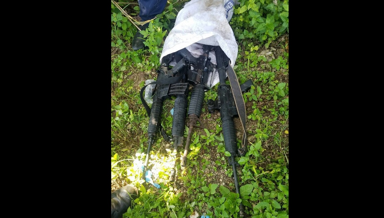 The four M-16 rifles that were found in Flankers on Monday.