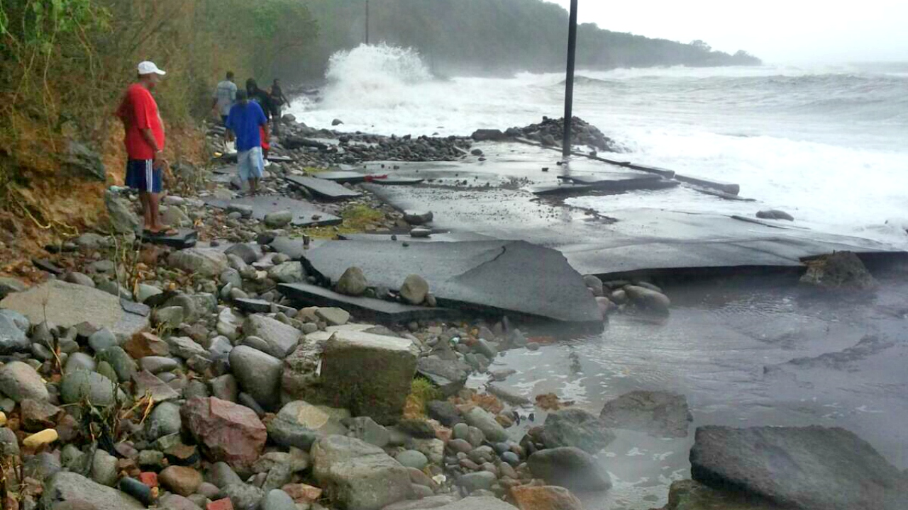 Road damage in St Kitts caused by Hurricane Maria.