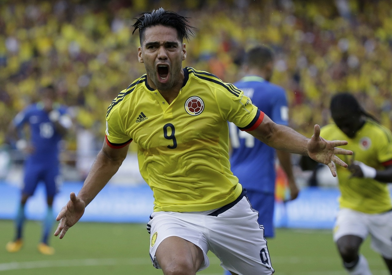 Colombia's Radamel Falcao celebrates after scoring a goal against Brazil during a 2018 World Cup qualifying football match in Barranquilla, Colombia, Tuesday, Sept. 5, 2017. The match ended in a 1-1 tie.