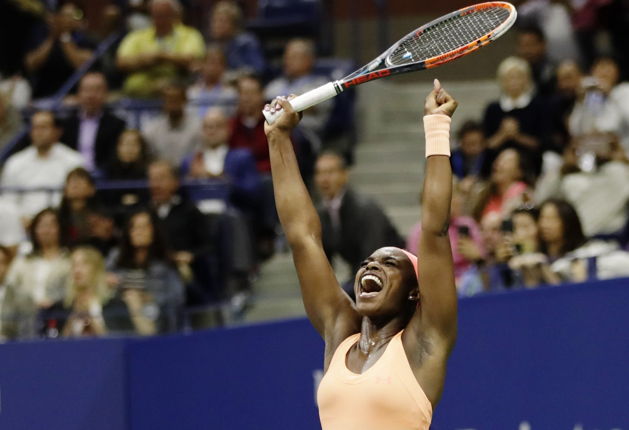 Sloane Stephens reacts after defeating Venus Williams during the semifinals of the U.S. Open tennis tournament, Thursday, Sept. 7, 2017, in New York.
